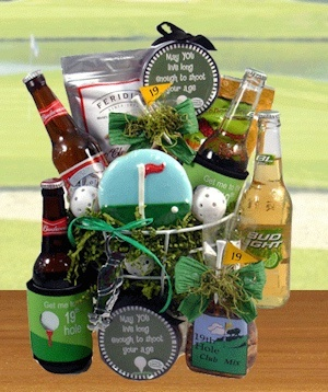 19th Hole Golf Gift Basket from All About Gifts and Baskets $58