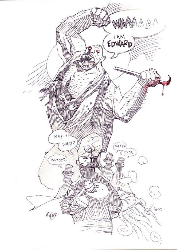 Mike Mignola, Mr. Hyde and Nemo - ballpoint pen on paper