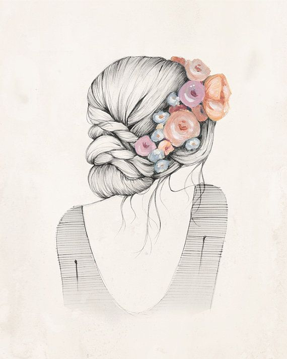Flowers in her hair 8x10 art print by KelliMurrayArt on Etsy, $22.00