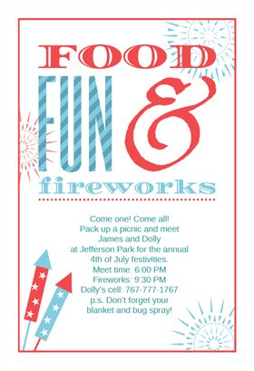Food Fun and Fireworks - Free Printable 4th of July Invitation Template   Greetings Island