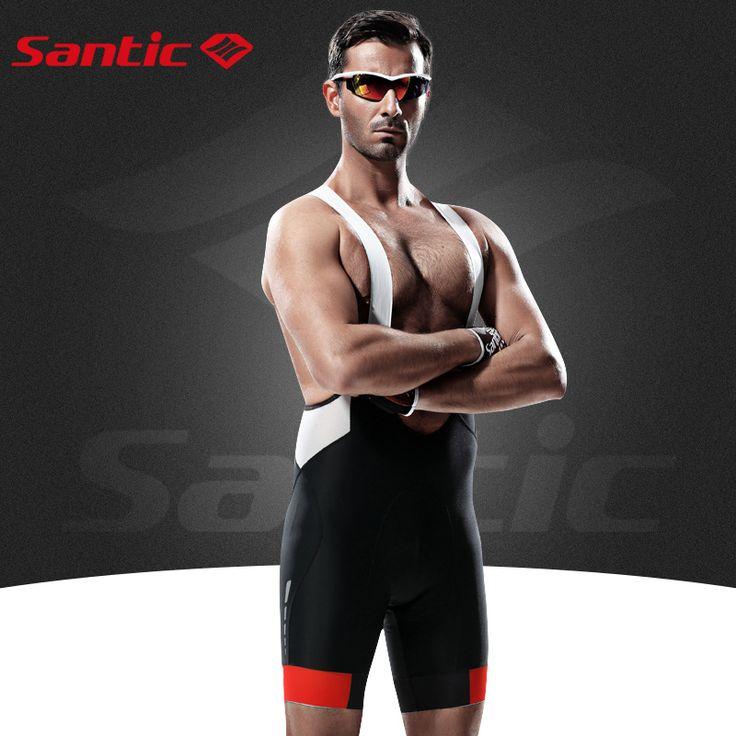 Santic Profession Cycling Bib Shorts Men Coolmax Yellow Gel Padded Bib Cycling Shorts Bike Bicycle Bib Cycling Shorts M5C05049H