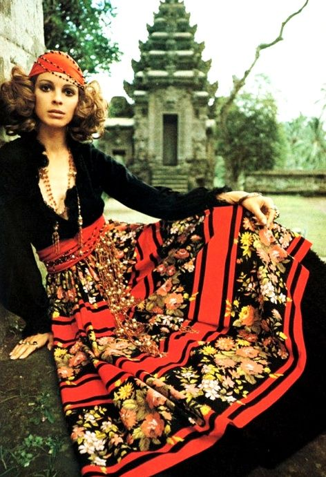 In Vogue Australia, June/July 1970 edition,  the model wears a black jersey top and patterned  cotton skirt that was a slightly different take on the hippie outfits of the 1960's.