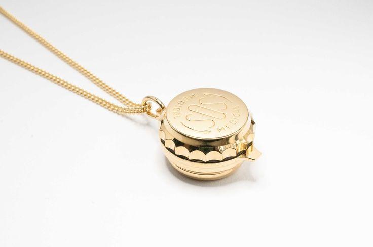 Pill box gold plated SOS Talisman pendant