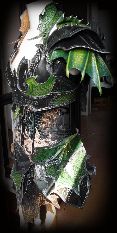 Druchii female leather armor + corset (daylight) by Deakath.deviantart.com on @deviantART