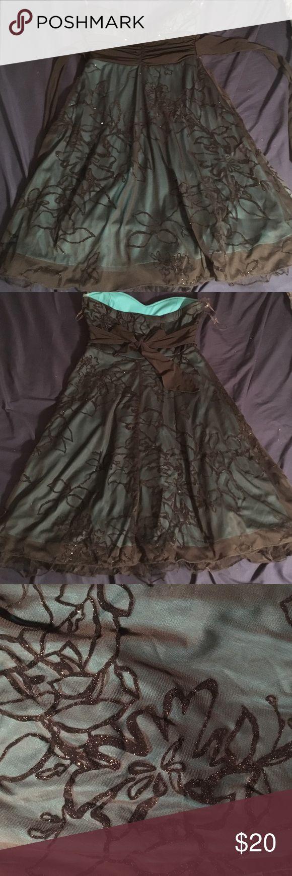 Strapless dress Black/teal strapless dress sparkly black pattern and tie under bust Dresses