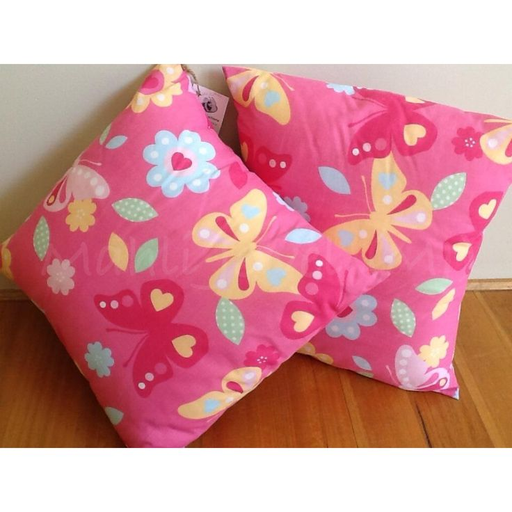 $20.00 Bright pink cushion with butterfly and flower print by MahliJewelMJ on Handmade Australia