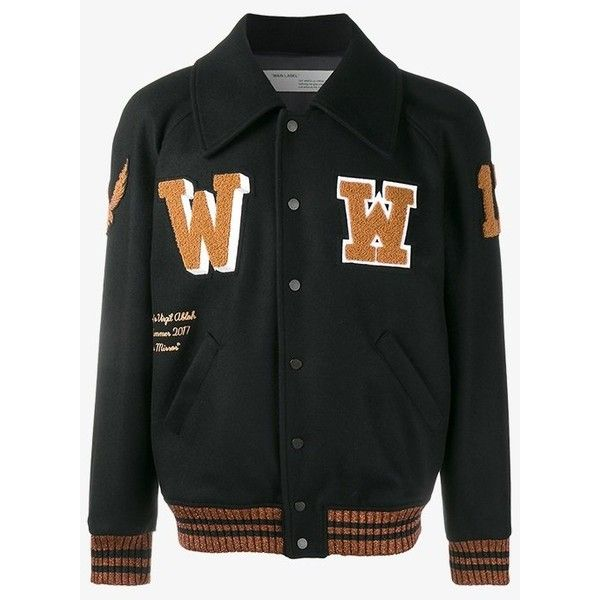 Off-White patch detail varsity jacket (3.380 BRL) ❤ liked on Polyvore featuring men's fashion, men's clothing, men's outerwear, men's jackets, mens sport jackets, mens sports jacket and letter mens jacket