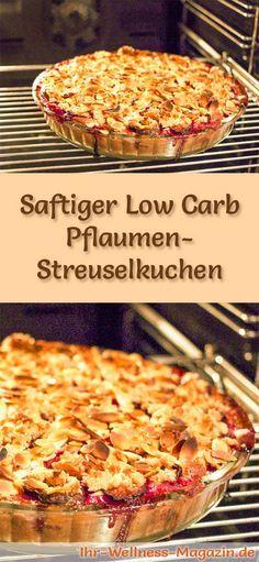 Rezept für einen fruchtigen Low Carb Pflaumen-Streuselkuchen - kohlenhydratarm, kalorienreduziert, ohne Zucker und Getreidemehl
