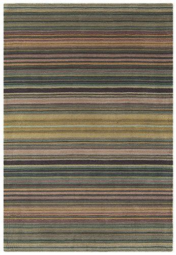 Vintage Teppich Wohnzimmer Carpet modernes Design PIMLICO STREIFEN RUG Wolle x cm Rechteckig Blau