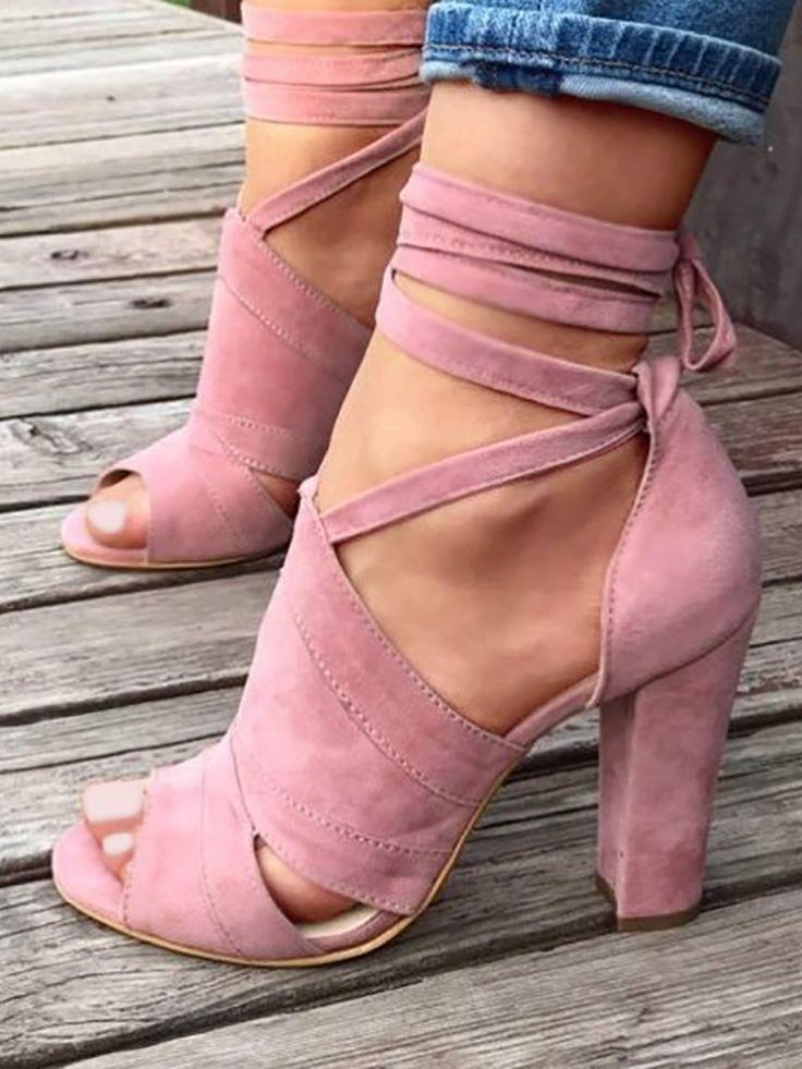 Lace Up Block Heels Sandals