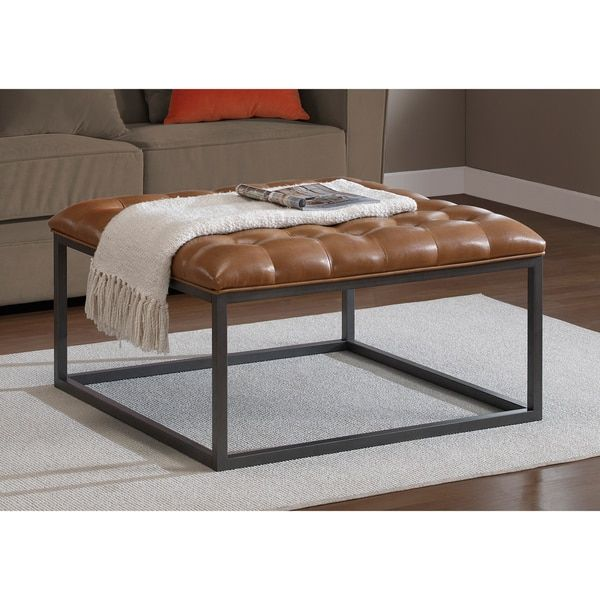 $251.99 Healy Saddle Brown Leather Tufted Ottoman | Overstock.com Shopping - The Best Deals on Ottomans