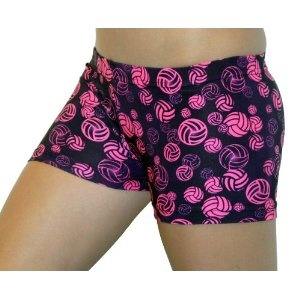 Neon Pink Volleyball Logo Spandex Compression Shorts - (available in 3 lengths)