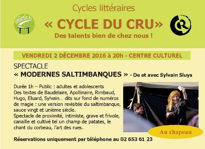 Les bibliothèques publiques de Rixensart - Littérature et magie, voici Modernes saltimbanques ce 2 décembre à 20 heures au centre culturel