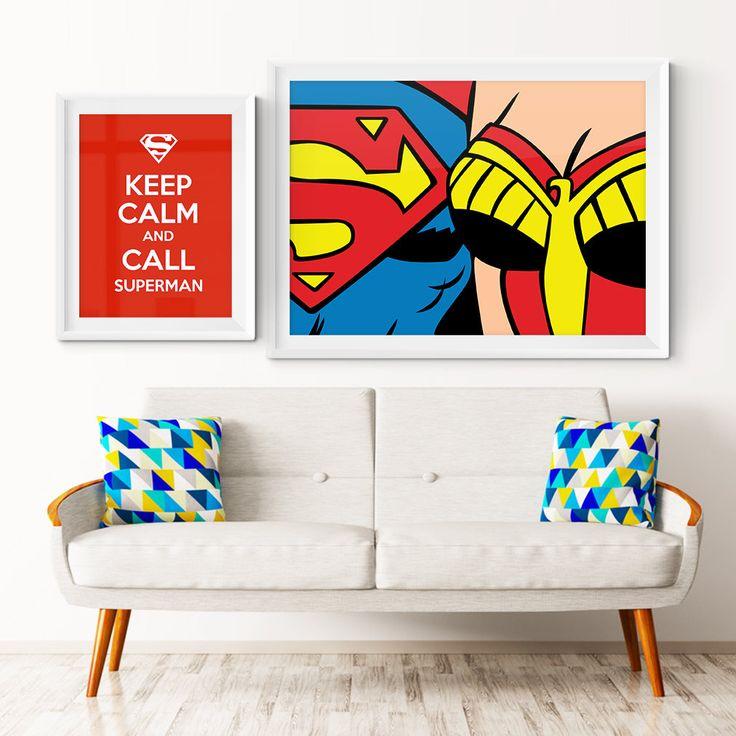 Superman and Wonder Woman Customizable Vector Illustration.