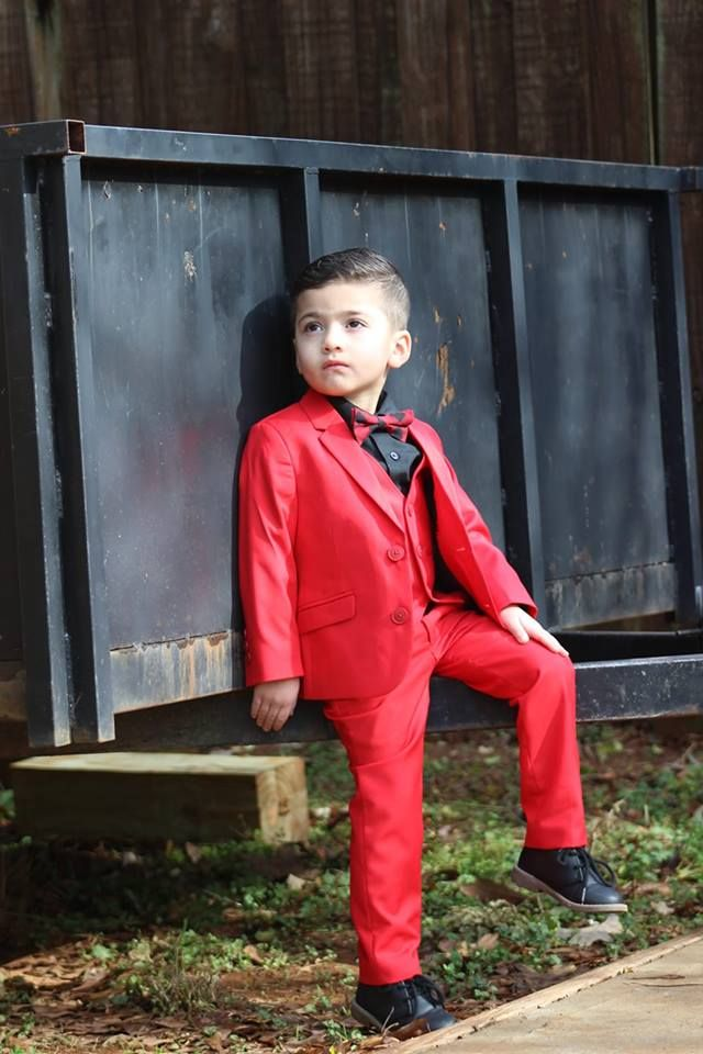 055807ea656504 Adorable little ring bearer sporting our Black n Bianco First Class Slim  Fit Suit.