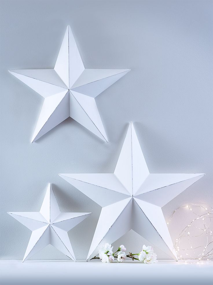 Three Light Gesso Stars - Gifts