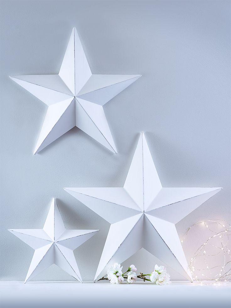 Three Light Gesso Stars - Gifts
