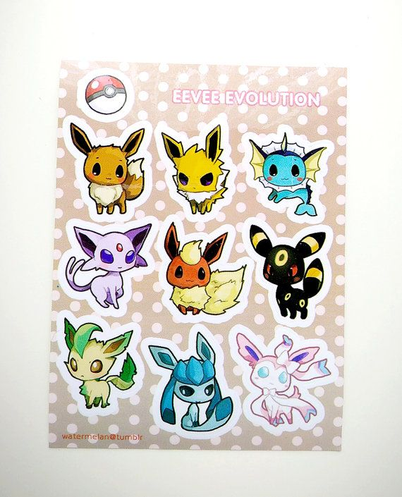 "SALE: Eevee Evolutions 3x4"" Kiss Cut Sticker Sheet"