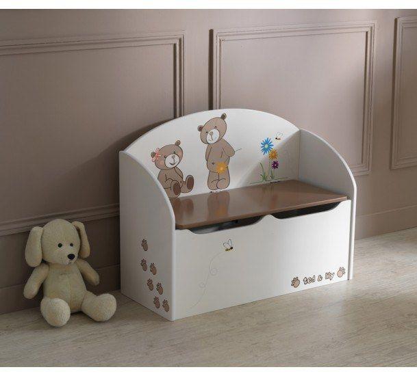 Ted & Lily Bænk - Bænk i beige med opbevaringskiste