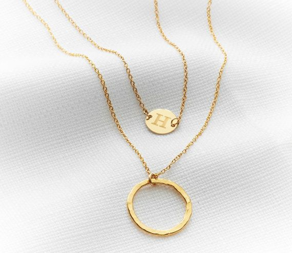 Gold layered necklace set Initial necklace Gold by HLcollection