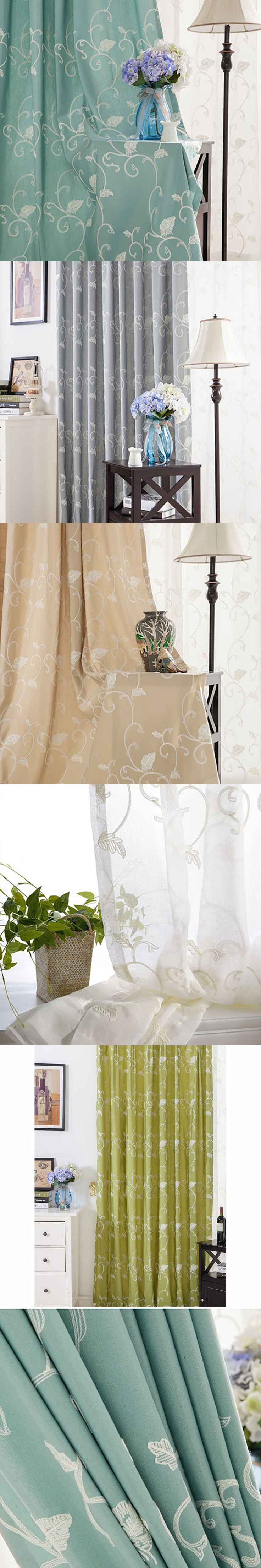Blackout Cloth Screen Window Linen Curtains Tulle Butterflies String Luxury Curtains For Living Room DDLXY5 $12