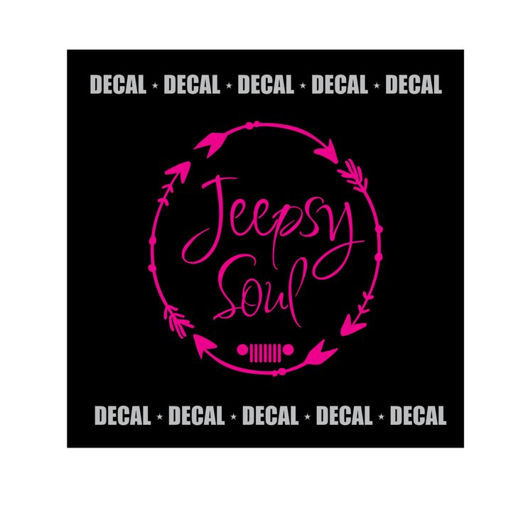 5 Circle Jeepsy Soul with Grill Decal - Circled Arrows Design Choose your color and style of grill! Jeep Girls join us on FB - FB.com/groups/justforjeepgirls Decals may be applied to a variety of surfaces...vehicles, glass, plastic, wood, metals and many more! Application Instructions includ