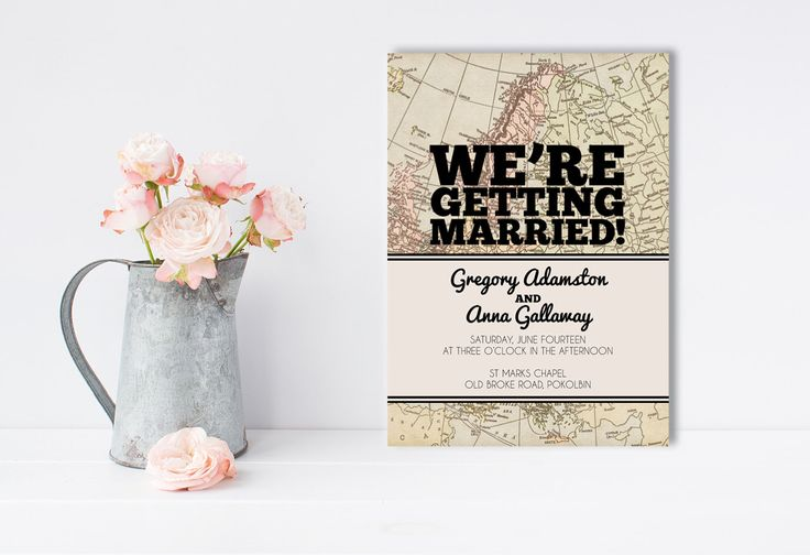 A personal favourite from my Etsy shop https://www.etsy.com/au/listing/256563525/vintage-map-wedding-invitation-travel