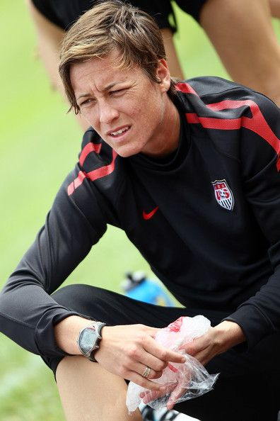 Abby Wambach ices her hand during a training session at the Women's World Cup, July 14, 2011. (Christof Koepsel/Getty Images)