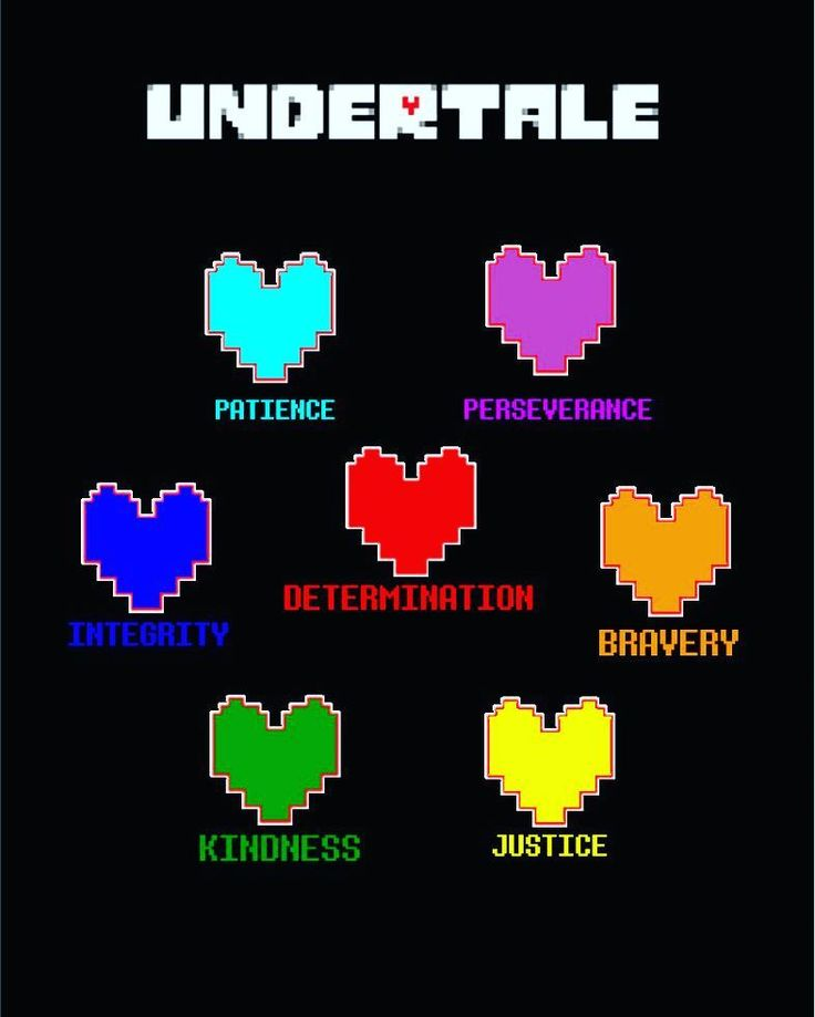 The Undertale Heart Meanings! Comment which one do you think you are! I'm Justice. #undertale #hearts #meaning #gaming #determination #kindness #integrity #bravery #justice #patience #perserverance