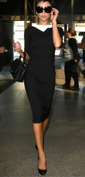 Black dress with a white statement collar. Victoria Beckham x Corporate Chic