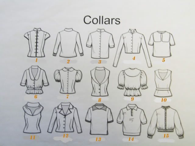 1.  MANDARIN 2.  BAND 3. STAND (stand-up) 4. TUXEDO 5. PILGRIM 6. CHELSEA 7. PETER PAN  8. SHAWL 9. BERTHA 10. SAILOR 11. FICHU 12. NOTCHED 13. WING 14. POLO 15. HENLEY