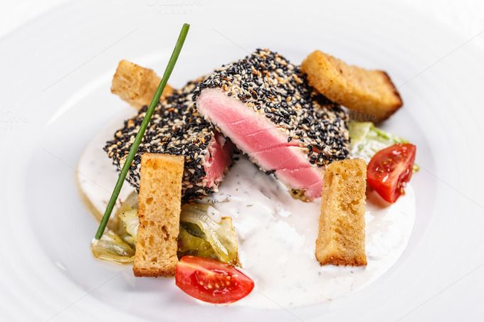 #Fried tuna fillet  Fried tuna fillet with sesame seeds and sauce