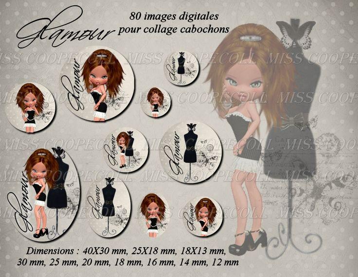 80 images pour collage digital cabochons bijoux 'Miss Glamour' : Loisirs créatifs, scrapbooking par miss-coopecoll
