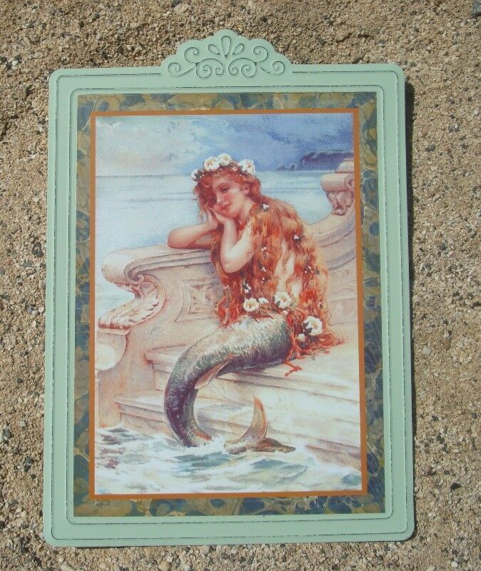 Vintage Style Redhead Mermaid Sign Teal Framed Metal Coastal Beach Home Decor Ohiowholesale Nautical Mermaidsi Mermaid Home Decor Mermaid Sign Mermaid Decor