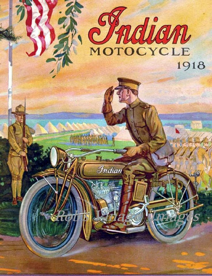photos of vintage motorcycles | Vintage Indian Motorcycle Dealer Advertising Poster 1918 World War 1 8 ...