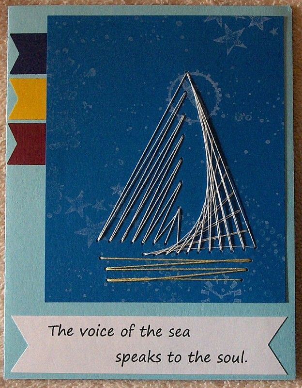 This is my card for Lisa's challenge [url=http://www.splitcoaststampers.com/forums/virtual-stamp-night-f54/here-comes-sun-master-challenge-thread-t606859.html]MAR16VSNM card with a boat[/url]. My mojo wasn't kicking in with the one boat stamp that I own, so I thought string art would work. I looked for a simple pattern on line & printed it to use. The hardest part was getting my needle threaded. LOL I stamped the background with a variety of stamps in white ink.