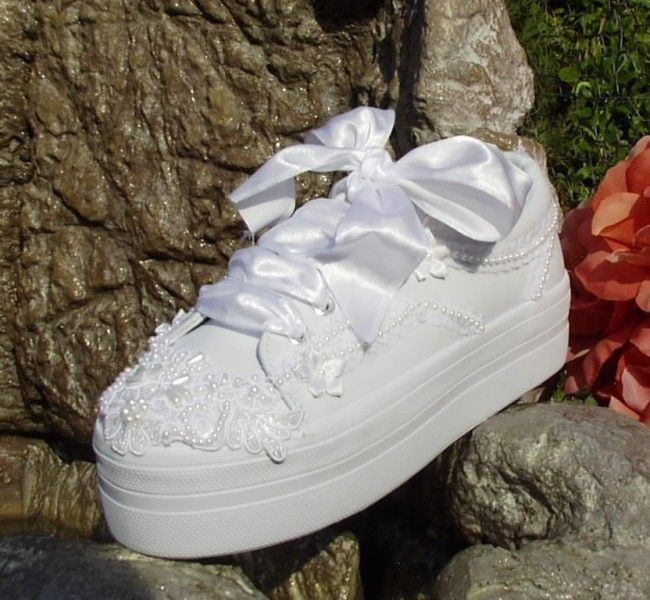 wedding sneakers platforms with lace wedding shoes