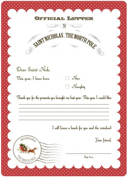 25 best ideas about Santa letter template – Santa List Template