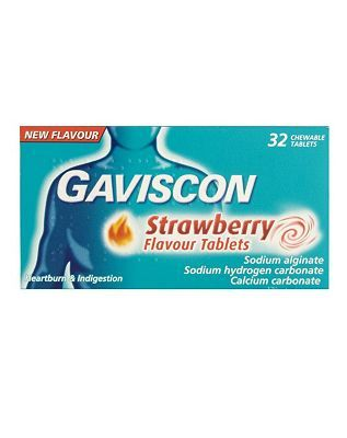 Gaviscon Strawberry Flavour tablets (32 chewable 16 Advantage card points. Provide relief from the pain and discomfort of heartburn and acid indigestion, See details below, always read the labelSuitable for: Adults and children 12 years and overActi http://www.MightGet.com/february-2017-1/gaviscon-strawberry-flavour-tablets-32-chewable.asp