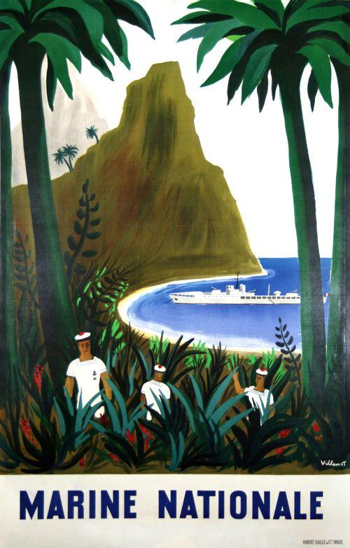 Poster   Marine Nationale  Atlantique  Pacifique  Méditérannée  1947   Villemot