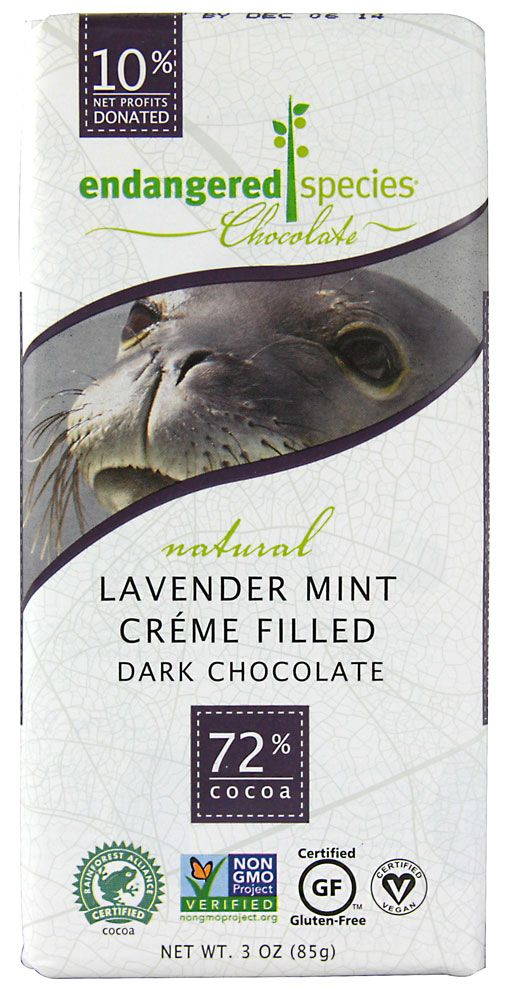 Endangered Species Chocolate Creme Filled Dark Chocolate 72% Cocoa Lavender Mint