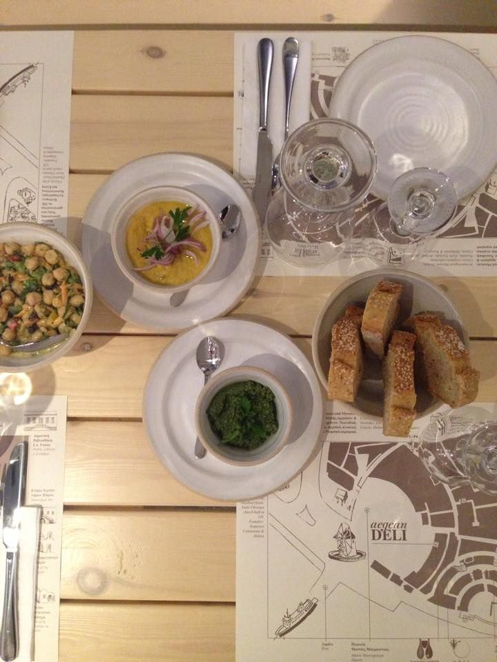 A starter selection of fava bean dip, chick peas and parsley dip