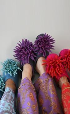 Chrysanthemum Felt Slippers 3008-S