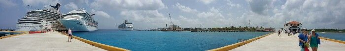 Panoramic view of cruise port Cozumel Mexico July 2015
