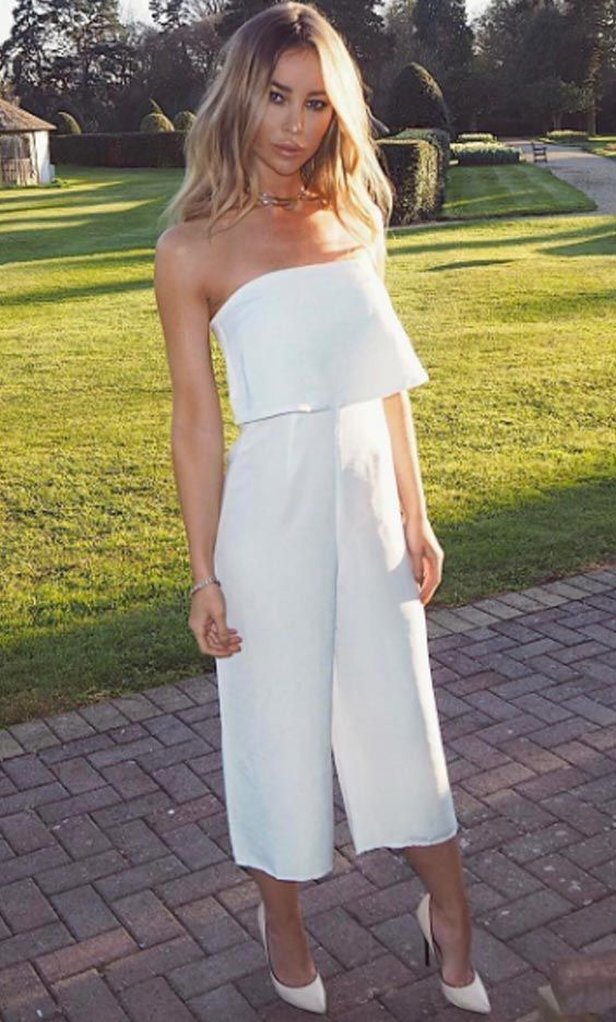 The Only Way is Essex star Lauren Pope looking wonderful in the SilkFred 'Relaxed Bandeau Jumpsuit' ...celebrity, summer, wedding, outfit, white