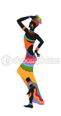 Mujer africana de danza étnica — Vector de stock #107754896