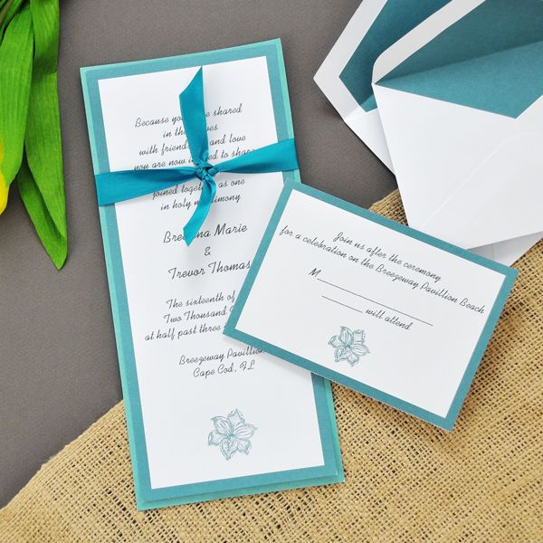 DIY Teal Hibiscus Invitations Kit For Your Wedding. Www.tradingvows.com