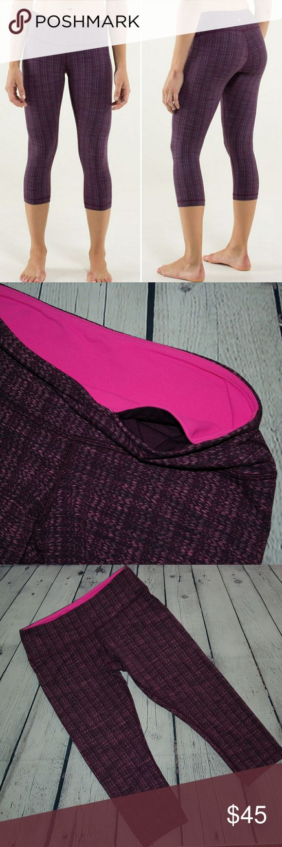 """Lululemon Wunder Under Crop Knit Texture Ziggy 6-8 The second-skin fit of these Wunder Under is out of this world. These are the textured knit-like Luon material, amazing! They are in good pre-loved condition. No stains/holes. Some piling inner thigh area. No tag or size dot, I believe they are a 6 but please see measurements.  14"""" waist band 21"""" inseam  four-way stretch  wide, soft waistband is anti muffin top  chafe-resistant flat seams  stash your keys and gym card in the hidden waistband…"""