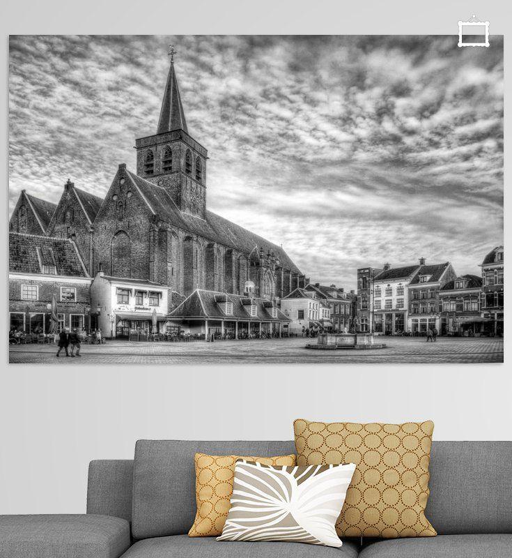 Nieuw in mijn Werk aan de Muur shop: Sint Joriskerk Hof historisch Amersfoort zwartwit