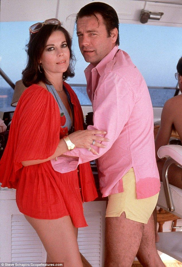 Ms Wood and her husband Robert Wagner embrace on their yacht Splendour two weeks before the tragedy. The couple married twice. First in 1957 before divorcing six years later and then again in 1972